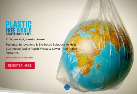 Screenshot of the conference website. In the background is a globe wrapped in a plastic bag.
