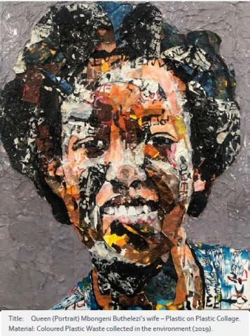 Portrait of Mbongeni Buthelezi's wife – Plastic on Plastic Collage. Material Coloured Plastic Waste collected in the environment from 2019.